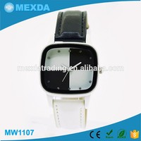 New customized black and white leather strap leather material vogue watch