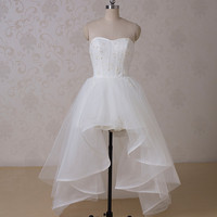 RR1517 Western Real Sexy Mini Short Front Wedding Dress