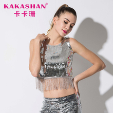 Sleeveless Short Party Basic Crop Tops Dance Sequin Vest