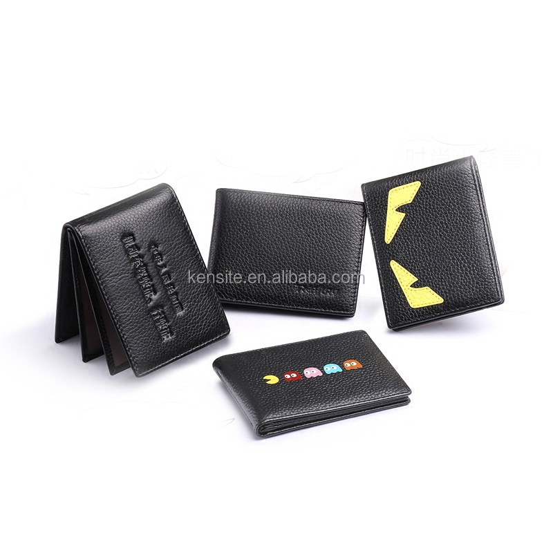 high quality luxury black cowhide leather driving license card holder