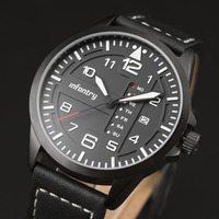 INFANTRY Vintage Mens Tactical Special Chronograph Day & Date Display Black Leather Straps Glow in Dark Watch