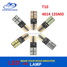 Error free canbus led light t10 w5w 168 194 w5w led headlight T10 4014 12smd for autos cars