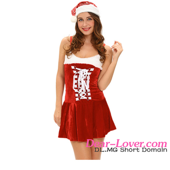 2016 Factory Wholesale Christmas Dress Sexy Holiday Buckles Lingerie Costume