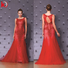 2016 sexy back open party wear gown mermaid beaded tulle red evening dress with train