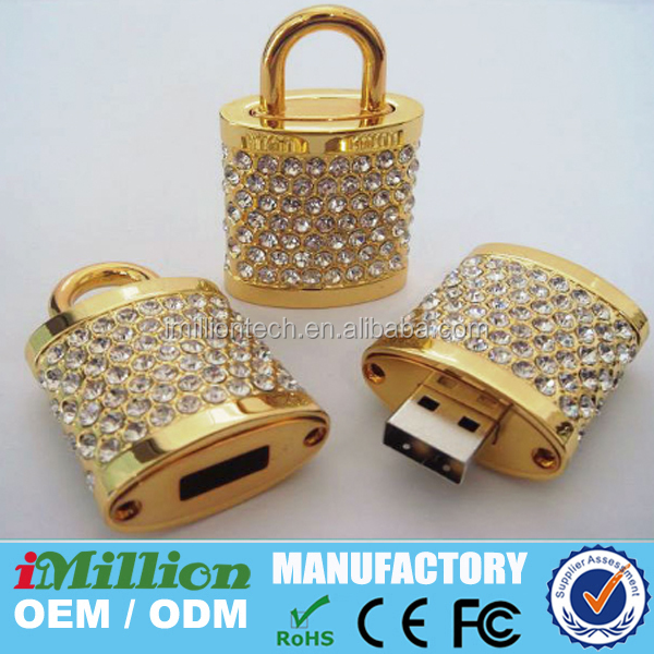 USB Stick as lock with strass stones,crystal lock pen drive