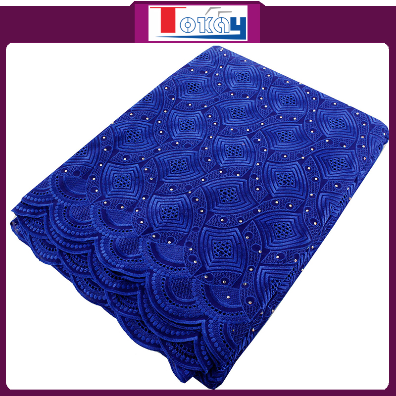 lower price stones cotton lace/royal blue color african cotton lace fabrics for men or women