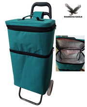 Foldable frozen food delivery vegetable insulated shopping trolley cooler bag