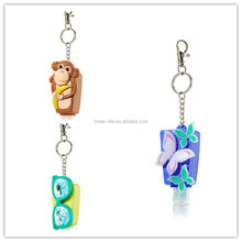 wholesale promotion bbw silicone hand sanitizer holder with key chain