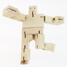 "2016 Hot New Natural Wholesale Beech Wooden 1.5"" Educational Creative Robot Toy Perfect Birthday Holiday Gift for Kids Children"