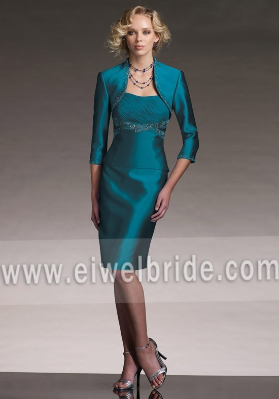 Short taffeta turquoise vintage style mother of the bride dress