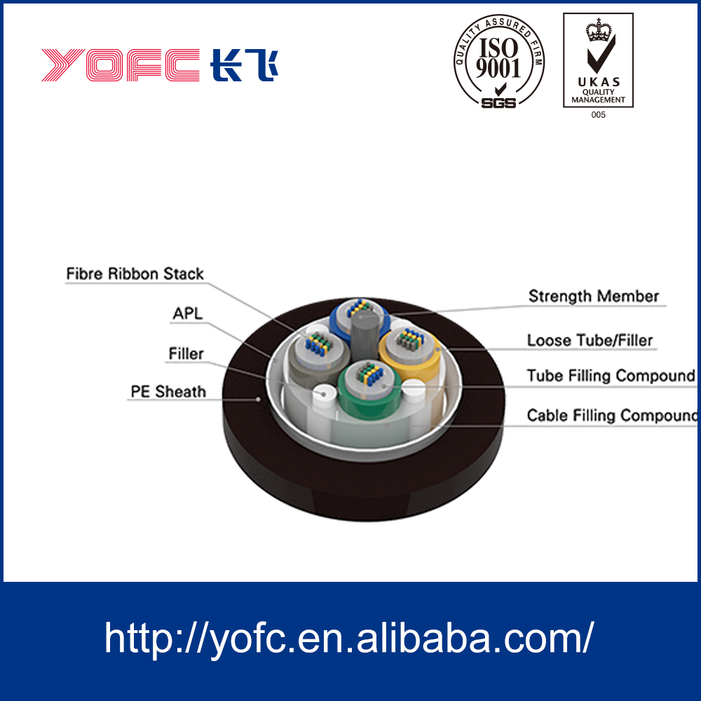 YOFC china manufacturer GYDTA Outdoor Aerial Ribbon 288 core optical fiber cable