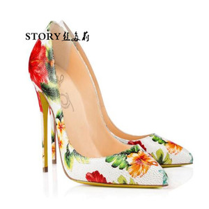 spring fashion sexy wedding ladies party lace up ol flower printed pu stiletto nude pump thin high heeled pointed toe court shoe