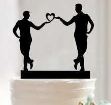 Gay Cake Topper Homosexual Wedding holiday party black Acrylic Decor Inserted Card Same Sex Man