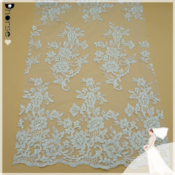 DH-BF816 Sequin Lace Fabric Embroidered African Guipure Cord Lace Applique Motif