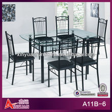 A11B-6 New model round glass dining table and 6 chairs