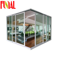 Newest design aluminum frame double glazed corner sliding door