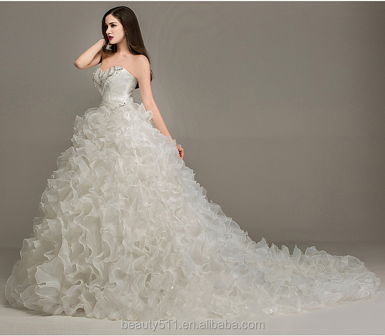 Luxurious Modern A-line Beading Sweetheart Sleeveless Floor-length Empire Organza wedding dresses with Ruffles WD1641