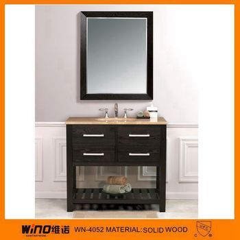 lowes dark brown wood cheap bathroom vanity with mirror cabinet buy