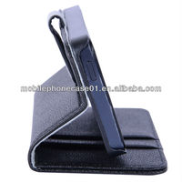 custom low price stitching black pu leahter book stand cell phone casing for iphone 5 5S with 2 card holder