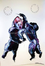 Abstract horror classic two monkeys in a fight 100%handmade classic decoration oil painting in canvas