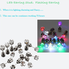 led 7 colors crystal led flashing earrings for party favour