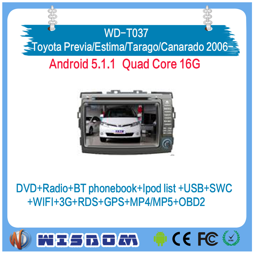 Factory touch screen dvd for Toyota Previa/Estima/Tarago/Canarado 2006 2007 2008 2009 2010 2011 2012 2013 2014 2015 2016 2017 ce