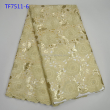 Nice design organza sequence lace fabric wedding dress Nigeria lace fabric