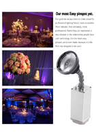 Rasha NEW ARRIVAL 10W Zoom Epin Easy Battery Operated Pinspot IRC Battery Powered Wireless LED Pinspot Light For Wedding Party