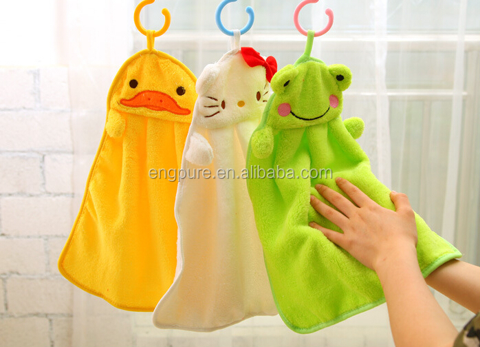 Lovely Nursery Hand Towel Soft Plush Fabric Cartoon Animal Hanging Wipe Bathing Towel