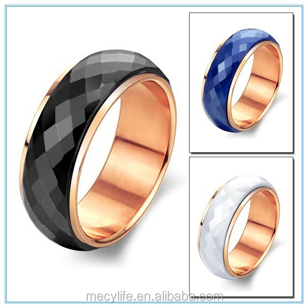 MECYLIFE factory wholesale directly stainless steel plated rose gold ceramic ring