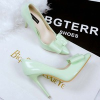 SAA4638 Women pumps OL stiletto shoes fashion korean elegant pointed toe bow ladies high heel shoes