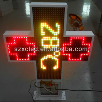 LED cross sign pharmacy hospital church