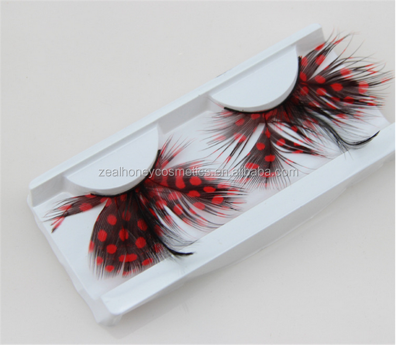 Zealhoney Wholesale feather fake eyelashes pink false eyelashes single pair package