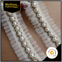 Make in china pearl and beads lace trimming french lace border sewing lace trim for clothing NBT002