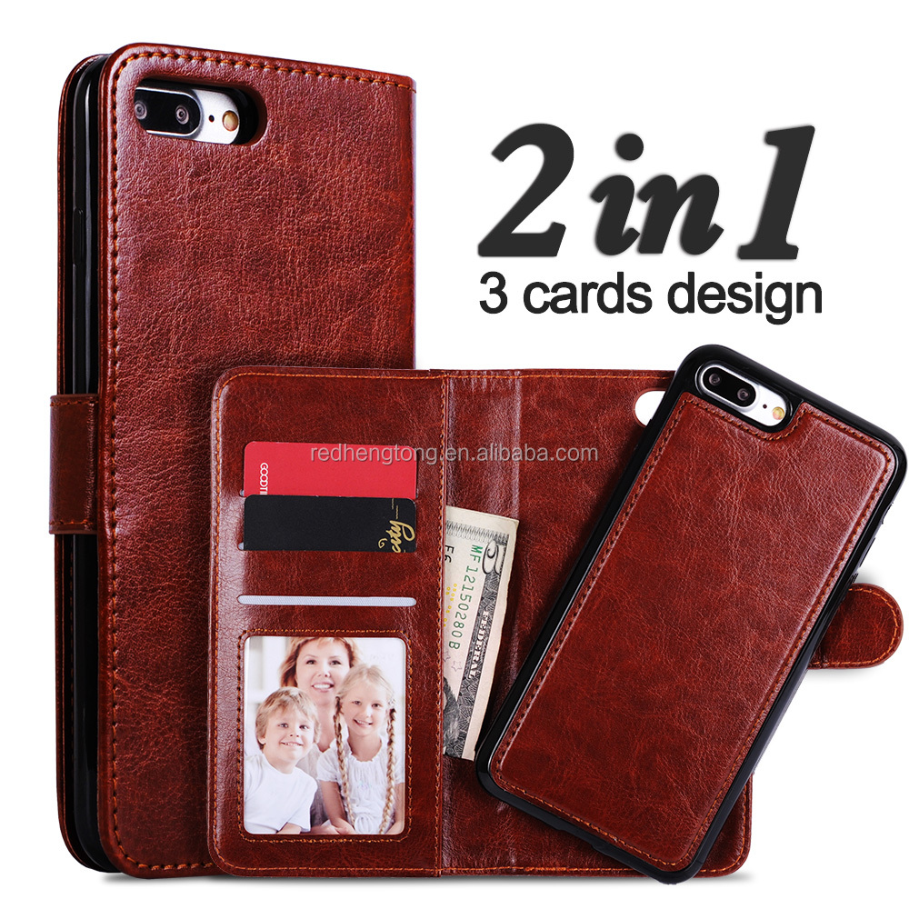 High quality 2 in 1 wallet PU leather phone case for iphone 7