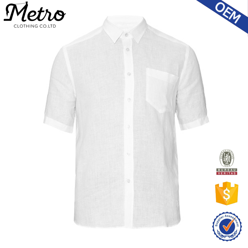 Accept OEM Service White 100% Linen Mens Casual Shirts