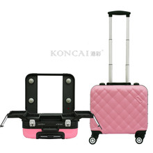 2017 new women cheap cute pink color rolling makeup case, travel cosmetic train case
