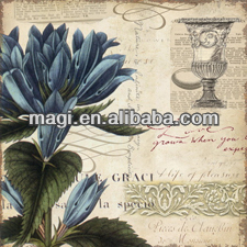 Modern Canvas Blue Flower Oil Painting