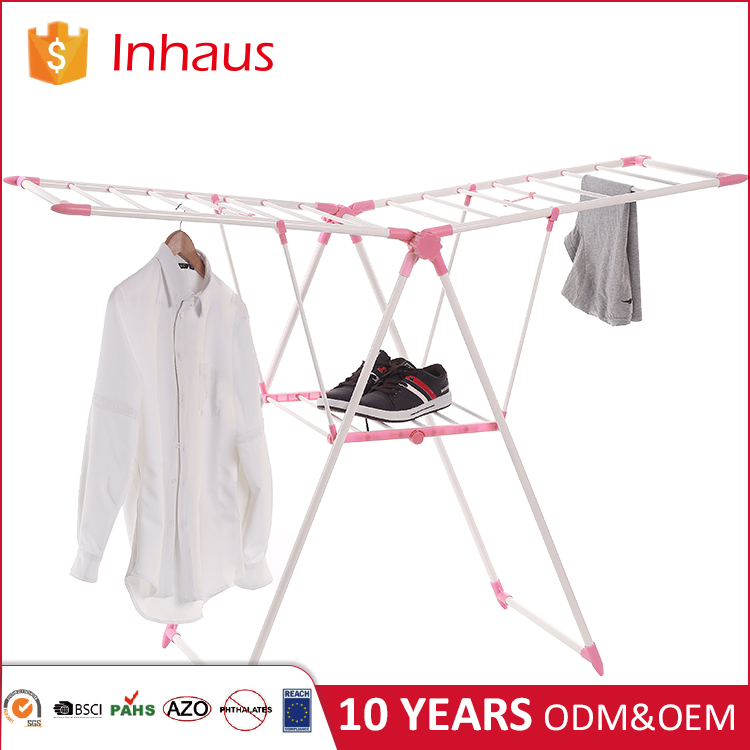 Promotion Top quality OEM design steel material foldable stand lift cloth laundry drying rack