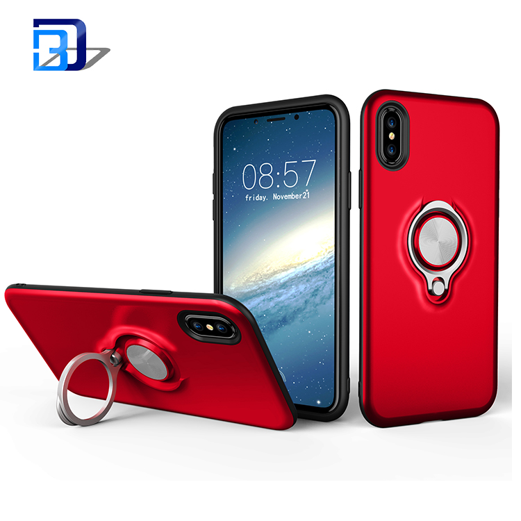 2018 Hybrid Protective Case With 360 Degree Rotating Ring Holder Shockproof Magnetic Car Mount Phone Case Cover for iPhone X