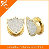 Stainless steel body jewelry gold ear tunnel plug with sand paper shield shaped novel design hot sell American