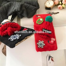 Hot selling cute girl use knit hats fur cell phone case for iphone 6s plus case