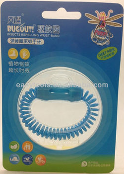 Blue rechargeable mosqutio repellent wristband spring
