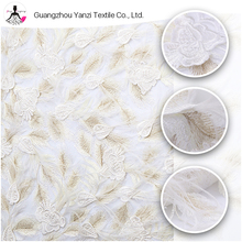 High quality gold gorgeous mesh tulle dress lace fabric lace embroidery