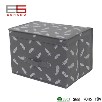 New Arrival Feather Design Fabric Folding Window Handle Lid Storage Boxes Cube