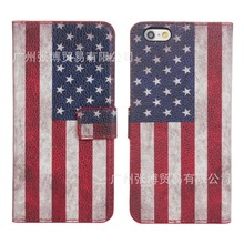 USA flag flip cover for iphone 7 leather case