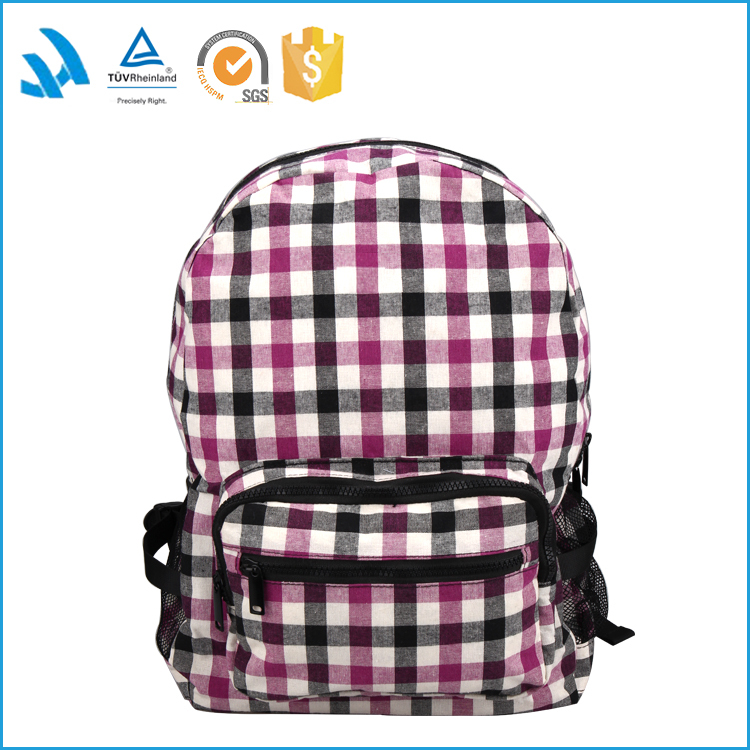 fashion purple checked cotton backpack for college girls loptap bags
