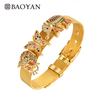 BAOYAN DIY Gold Plated Dolphin Butterfly Elephant Charm Stainless Steel Watchband Bangle Bracelet