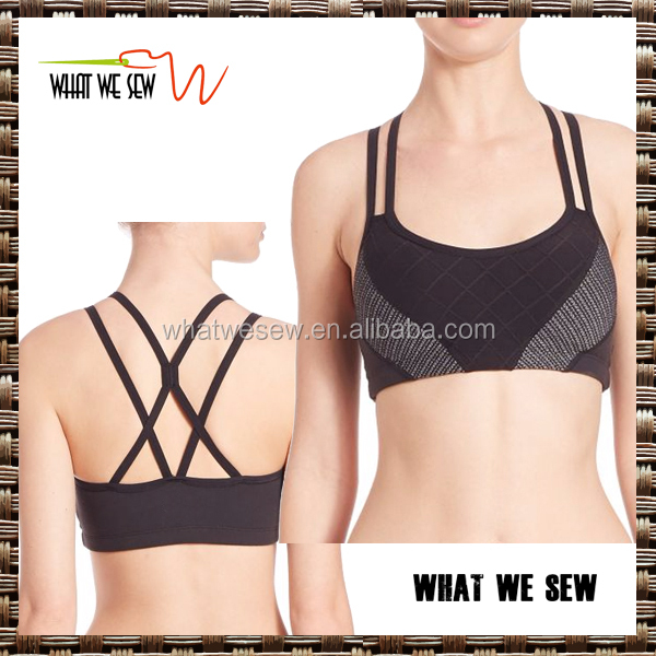 wholesale double elastic band front folwer pattern avia sports bra hot design u neck workout bra