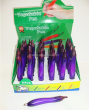 Novelty aubergine chili shaped plastic vegetable pen